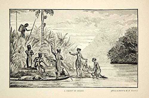 Costume Iban (1910 Wood Engraving Sea Dayaks Ibans Costume Boat Indigenous People Borneo TYJ1 - Original Wood)