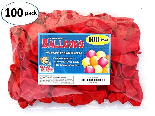 Garage Sale Pup Pack of 100, Bright Red Color Latex Balloons, Made in USA! ()