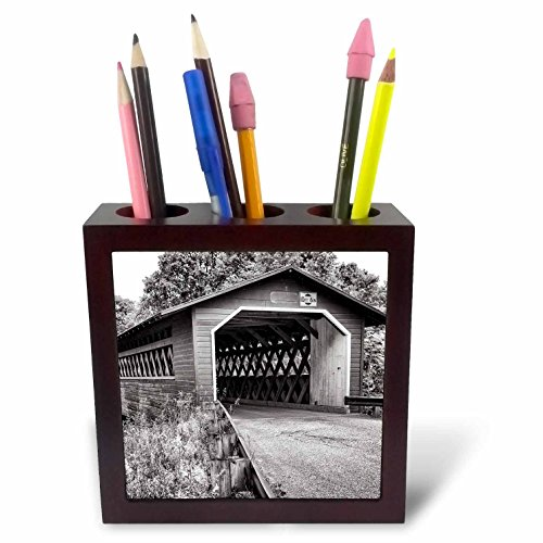 3dRose ph_94993_1 Covered Bridges, Henry Bridge in Bennington VT-US46 BBA0026-Bill Bachmann-Tile Pen Holder, 5-Inch