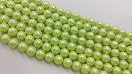 Round Sea Green Pearl South (TheTasteJewelry 10mm Round Green South Sea Type A Grade Shell Beads 15 inches 38cm Jewelry Making Necklace Healing)