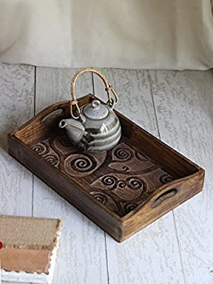 Wooden Large Breakfast Serving Tray with Handles Tea Snack Dessert Parties Serveware Dining Accessory
