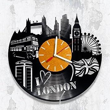 Vinyl Clock London City Wall Handmade Birthday Gift