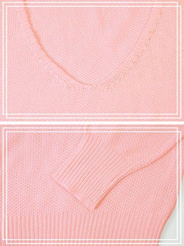Rosa HENCY Autunno Maglia Oversize Inverno Casuale Tops Maglietta Maglione V Sweatshirt Lunghe Collo Maglioni Maniche Jumper Pullover Donna TfqrxnT