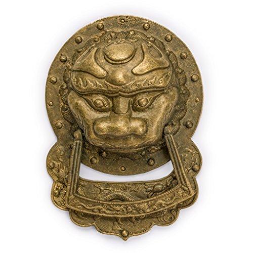 Chinese Brass Hardware King Lion Door Knocker Pull 9.3'' -