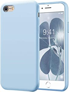 KUMEEK iPhone 6s Case/iPhone 6 Case, Anti-Slip Liquid Silicone Gel Rubber with Soft Microfiber Cushion Shockproof Drop Protective Case Cover for iPhone 6s/6 - Light Blue