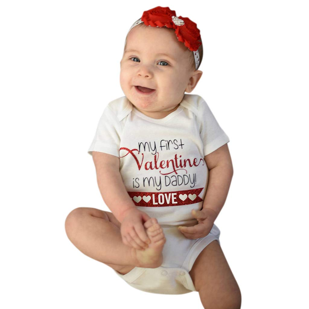NUWFOR Newborn Infant Baby Girl Letter Romper Bodysuit Valentine Outfits Clothes(White,3-6 Months) by NUWFOR (Image #1)