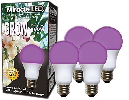Miracle LED Absolute Daylight Red & Blue LED Grow Lite - Replaces up to 100W - Combines Red & Blue Light for Healthy Indoor Plant Growth and Photosynthesis in DIY Horticulture & Hydroponic Gardens (604276) 4 Pack (100w Blue Daylight Bulb)