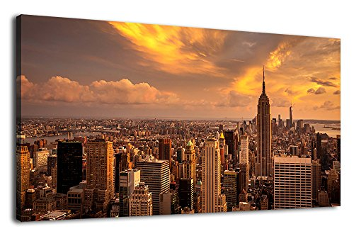arteWOODS Large Canvas Wall Art Manhattan Sunset Skyline Wall Art Pictures New York City Canvas Artwork Long Canvas Painting for Home Decoration Becroom Living Room Framed Ready to Hang 24
