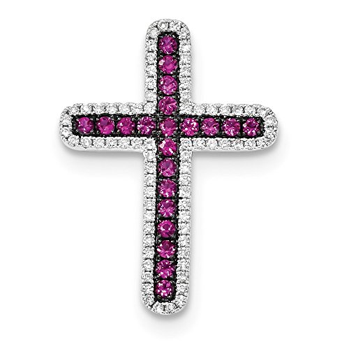 Solid 14k White Gold Diamond and Simulated Ruby Cross Slide Pendant (20mm x 27.5mm)