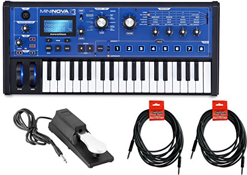 Novation Mini Nova analogue-modeling synthesizer w/ Sustain Pedal and 2 18.6' Instrument Cables