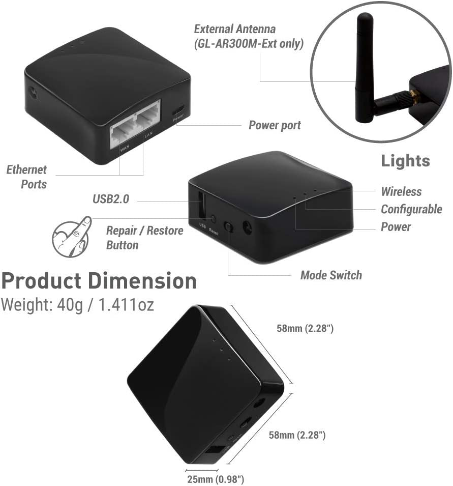 Wi-Fi Converter 128MB Nand Flash OpenVPN 300Mbps High Performance 128MB RAM GL.iNET GL-AR300M Mini Travel Router with 2dbi External Antenna Repeater Bridge OpenWrt Pre-Installed