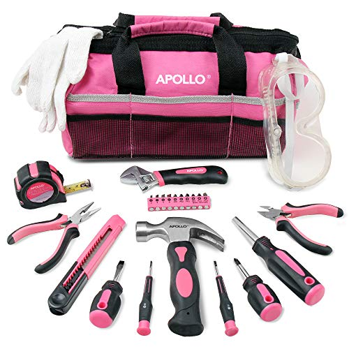 Apollo 23pc Pink Household DIY Tool Kit with Stubby Hammer, Adjustable Spanner, Screwdrivers, Long Nose and Diagonal Pliers, Precision Screwdriver & Bit Set and Protective Gear Set in Pink Tool Bag