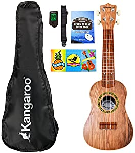 22 5 ukulele with electronic tuner strap picks carrying case songbook musical. Black Bedroom Furniture Sets. Home Design Ideas