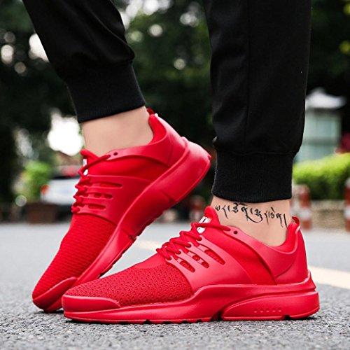 à Rouge Baskets Running Homme Casual Sportwear Tennis Mode en Shoes Maille Lacets Classiques Chaussures OverDose 41q60q