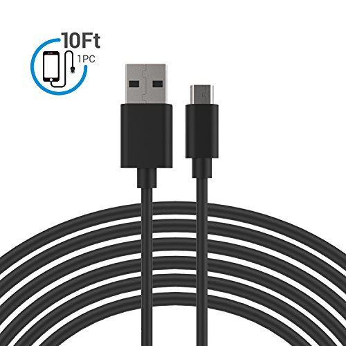 Price comparison product image Micro USB Cable,  MoMoCity Premium Durable Charging Cord PVC Powerline for Android devices,  Samsung,  Nexus,  LG,  Sony,  HTC,  Huawei,  Motorola and More – Black (Black-10Ft)