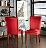 ModHaus Modern Red Microfiber Fabric Parsons Style Dining Side Chairs | Wood Finish Wooden Legs - Set of 2 Includes ModHaus Living (TM) Pen