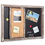 MyGift Rustic Gray Wood Wall-Mounted Magnetic Chalkboard & Sliding Cork Board