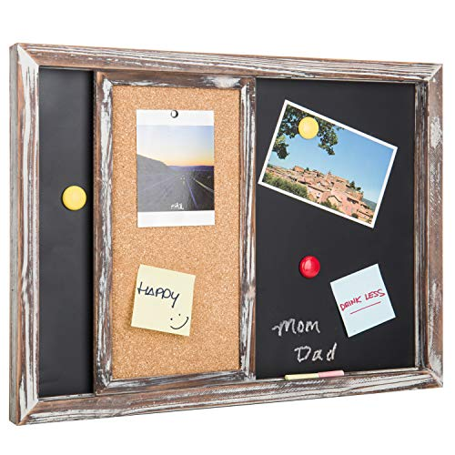 Combination Chalkboard - MyGift Torched Wood Wall-Mounted Magnetic Chalkboard & Sliding Cork Board