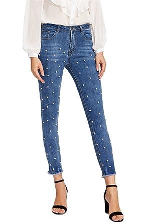 5e216a88e82 Hotmiss Women s High Waist Skinny Jeans Pearl Embroidered Denim Pants ...