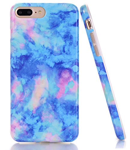 iPhone 7 Plus Case, Light Blue Marble Creative Design, BAISRKE Slim Flexible Soft Silicone Bumper Shockproof Gel TPU Rubber Glossy Skin Cover Case for iPhone 7 Plus & iPhone 8 Plus