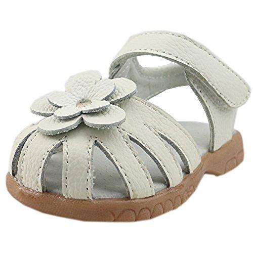 Orgrimmar Girls Genuine Leather Solid Flower Sandals