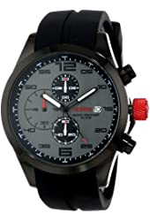 red line Men's RL-50042-01GY Stealth Chronograph Grey Textured Dial Black Silicone Watch