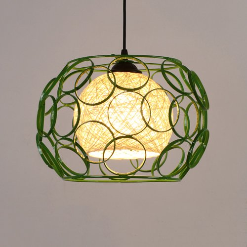 Baycher Modern Simplicity Iron Grass Rattan Willow Ceiling Pendant Lights Industrial Colorful Single Lights Adjustable Chandelier for Farmhouse Kitchen Restaurant Dining Room (Color : Green)