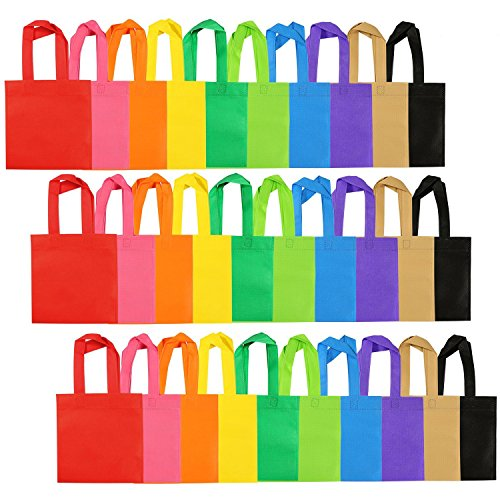Aneco 30 Pack Party Bags Non-woven Gift Bag Tote Bags with Handles Party Favor, 8 by 8 Inches, 10 Colors ()