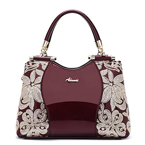 (G-AVERIL Patent Leather Lady Shoulder Bag Tote Bag Medium For Women With Sequin Flower Red Wine)