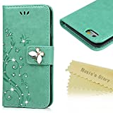 Mavis's Diary iPhone 6S Case ,iPhone 6 Case (4.7') - Bling Sparkly Diamonds Gems PU Leather Wallet Flip Case [Butterfly & Vines Embossed] Magnetic Closure Stand Function Card Slots with Detachable Hand Strip for iPhone 6S &iPhone 6 - Mint Green