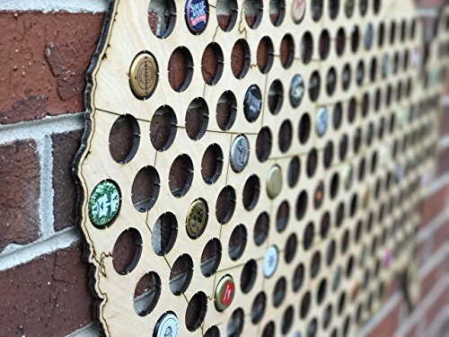 Natural Wood Bottle Cap Map Holder FREE SHIPPING by West Georgia Cornhole (Image #3)
