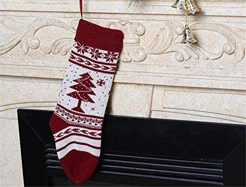 (ATOLY Red Christmas Tree Christmas Stockings, Crocheted Cable Knit Christmas Stocking 18