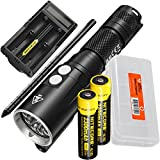 NITECORE DL10 1000 Lumen White/Red LED 30m Submersible Diving Flashlight for Underwater and Scuba with 2x 2300mAh 18650 Rechargeable Battery, UM20 Battery Charger, Lumen Tactical Battery Organizer