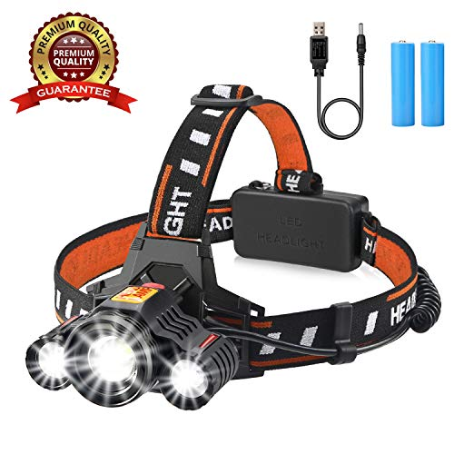 (Headlamp Flashlight, Yousu Headlamps Rechargeable Head Lamp Head Light Brightest 5500 Lumen Headlight with USB Rechargeable Batteries Waterproof for Camping Hiking Outdoors)