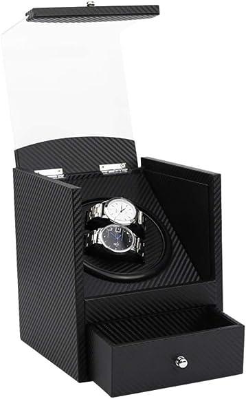 TZUTO GETHER Nuevo caja giratoria relojes automáticos de rotación de relojes duales para relojes mecánicos automáticos con cuero de motores silenciosos mediante adaptador de CA o batería Dual Watch-02: Amazon.es: Relojes