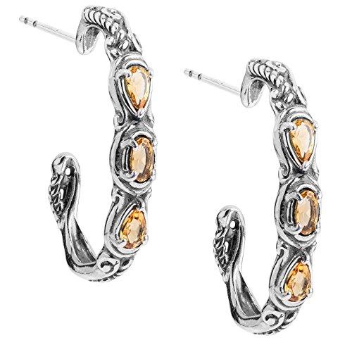 Carolyn Pollack Sterling Silver Yellow Citrine Gemstone 3 Stone Hoop Earrings