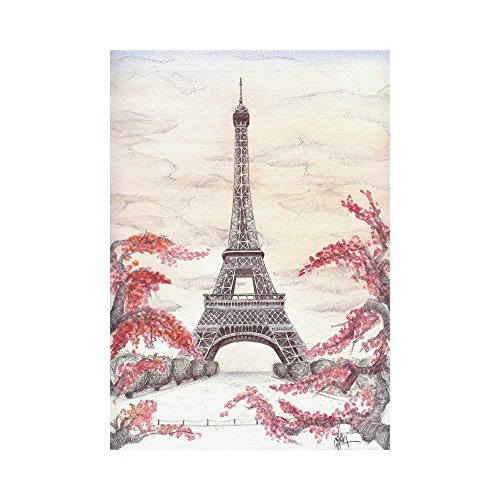 Pingshoes French Eiffel Tower Polyester Garden Flag Outdoor Banner 28 x 40 inch, Autumn Branches City Landmark Decorative Large House Flags for Party Yard Home Decor -