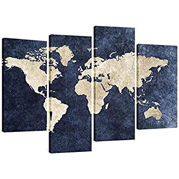 4 Panels Canvas Painting Abstract World Map Picture Printed on Canvas Giclee Artwork Stretched and Framed Wall Art For Home Decor (Navy)