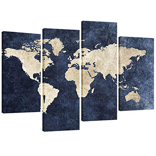 4 Panels Canvas Painting Abstract World Map Picture Printed on Canvas Giclee Artwork Stretched and Framed Wall Art For Home Decor (Navy) ()