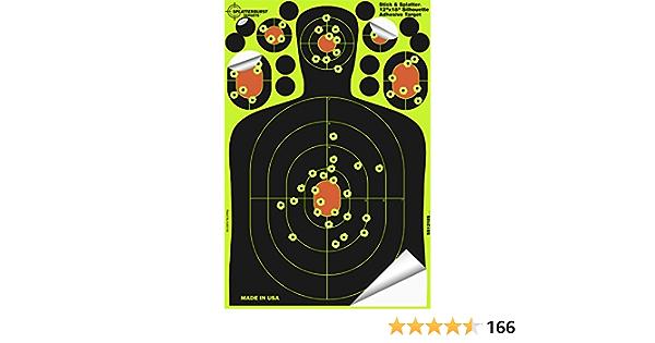 Excelente para todas rifles F/ácil de ver los agujeros de bala pistolas y pistolas de aire. Paquete de 25-20,3 x 30,5 cm Splatterburst Stick /& Splatter Adhesivo Silueta Objetivo de disparo