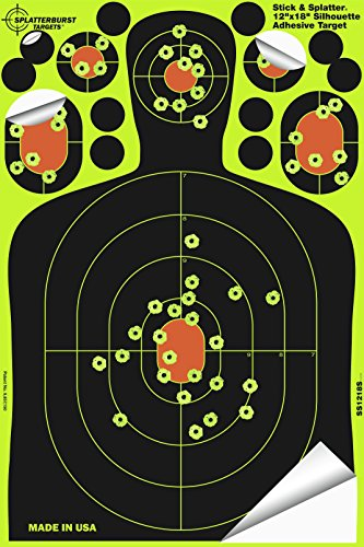 Splatterburst Targets - 12 x18 inch - Stick & Splatter Adhesive Silhouette Shooting Target - Shots Burst Bright Fluorescent Yellow Upon Impact - Gun - Rifle - Pistol - Airsoft - Air Rifle (50 Pack)