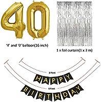 Sunarrive Decoracion Fiesta 40 Cumpleaños para Mujer Hombre - Globos 40 Años Helio Oro Negro