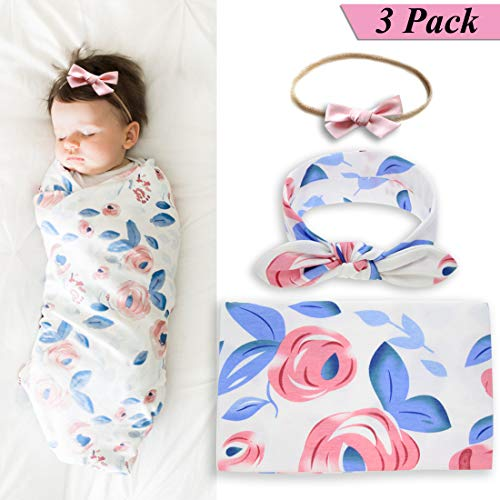 Newborn Baby Swaddle Blanket and Bow Headband Set for Girls,Baby Girls Receiving Blankets,Baby Shower Gift (Loving Baby Swaddle Blanket)
