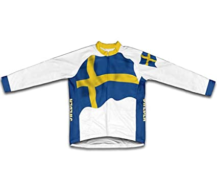 Amazon.com   ScudoPro Sweden Flag Long Sleeve Cycling Jersey for ... 31b4ea9d7