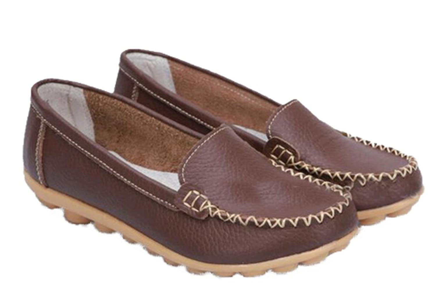 WenHong Womens Comfort Casual Flat Leather Work Walking Moccasin Shoes Loafers Flats