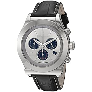 Salvatore Ferragamo Men's '1898' Chronograph Stainless Steel and Leather Casual Watch, Color:Black (Model: FFM090016)