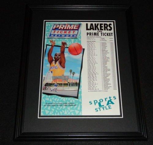 1993 Los Angeles Lakers Prime Ticket Schedule Framed ORIGINAL Advertisement