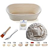 M JINGMEI Banneton Proofing Basket 10'' Oval Banneton Brotform for Bread and Dough [FREE BRUSH] Proofing Rising Rattan Bowl + FREE LINER + FREE BREAD FORK (750g dough)