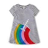 Gorboig Girls Summer Cotton Short Sleeve Stripe Dress for Toddler(White/4-5Y)