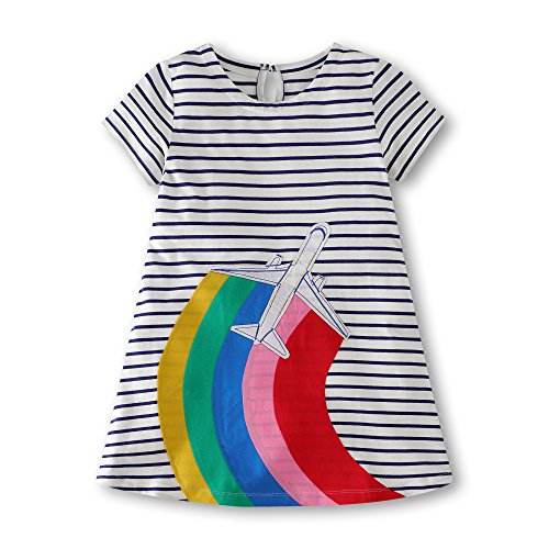 Gorboig Girls Summer Cotton Short Sleeve Stripe Dress for Toddler(White/4-5Y) by Gorboig